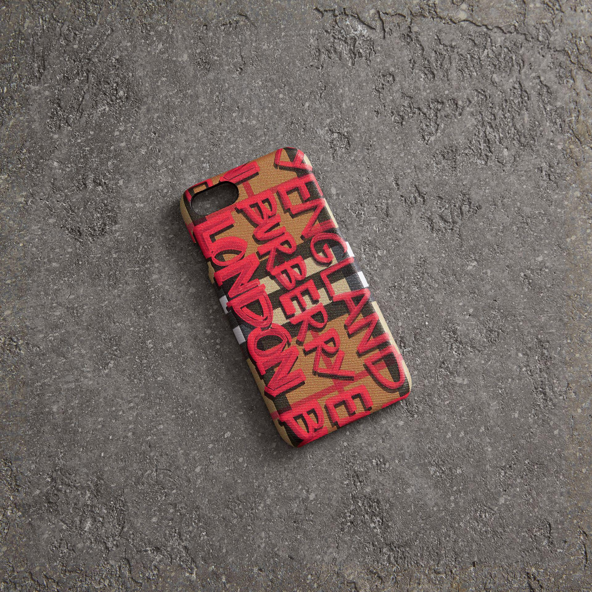 Burberry womens red graffiti vintage check leather iphone 8 case