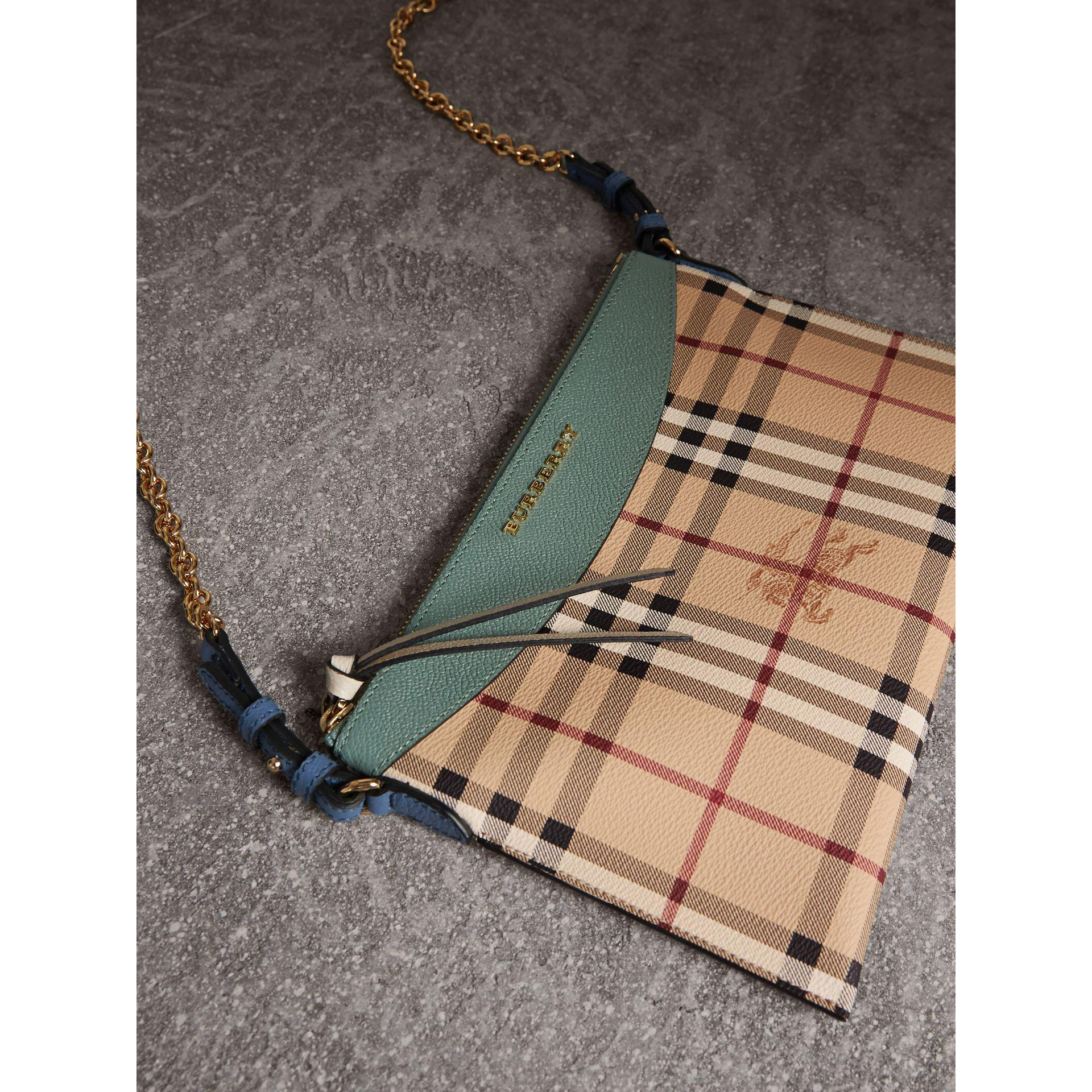 1a81361030d Burberry Haymarket Check And Two-tone Leather Clutch Bag in Green - Lyst