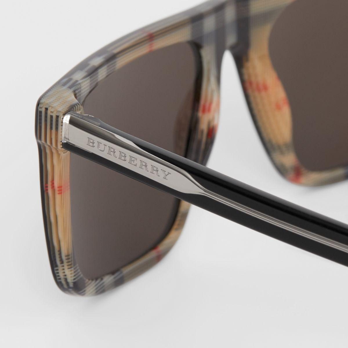 c950072625f Burberry - Black Vintage Check Detail Straight-brow Sunglasses for Men -  Lyst. View fullscreen
