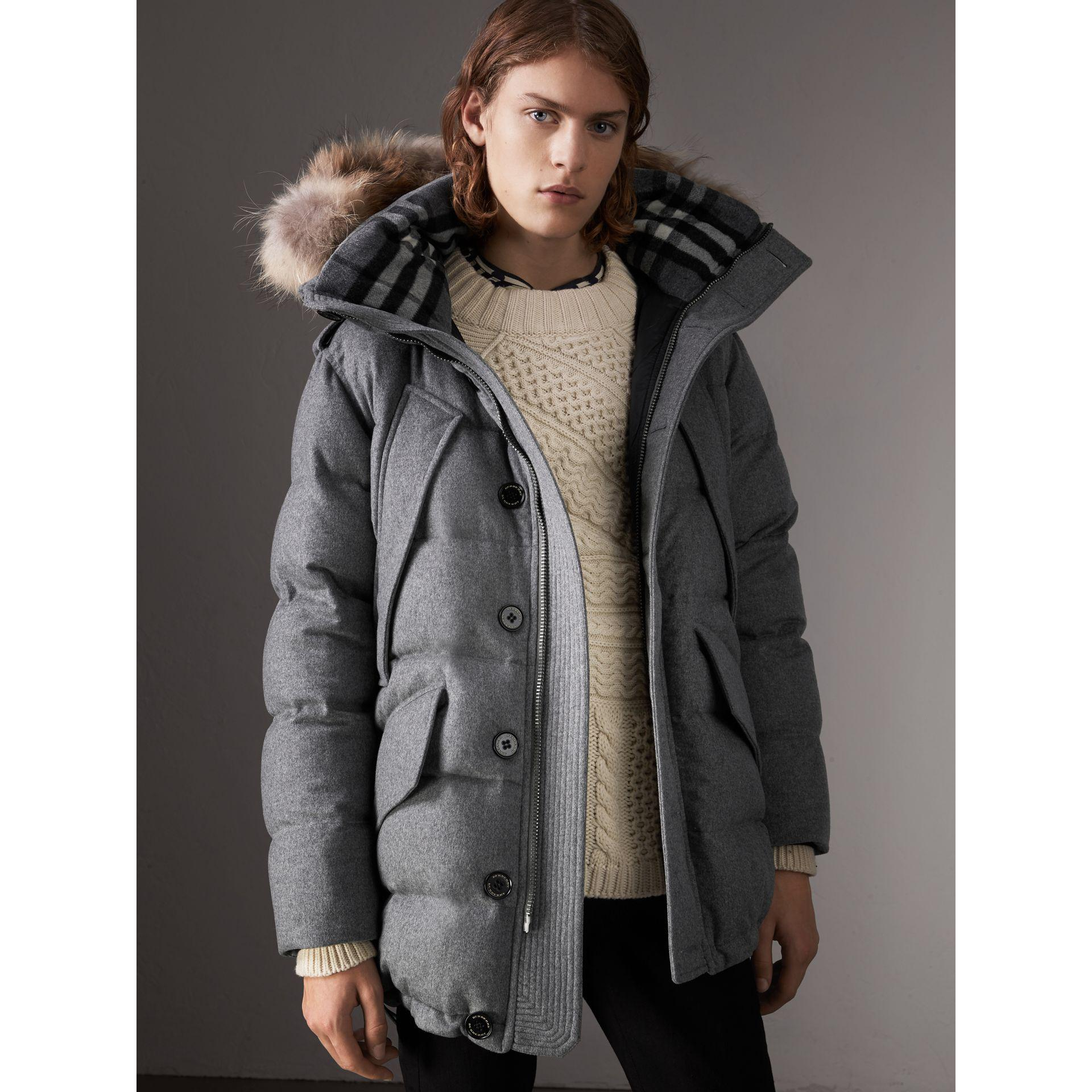 587b87bf07c7 Burberry Down-filled Cashmere Hooded Parka in Gray - Lyst