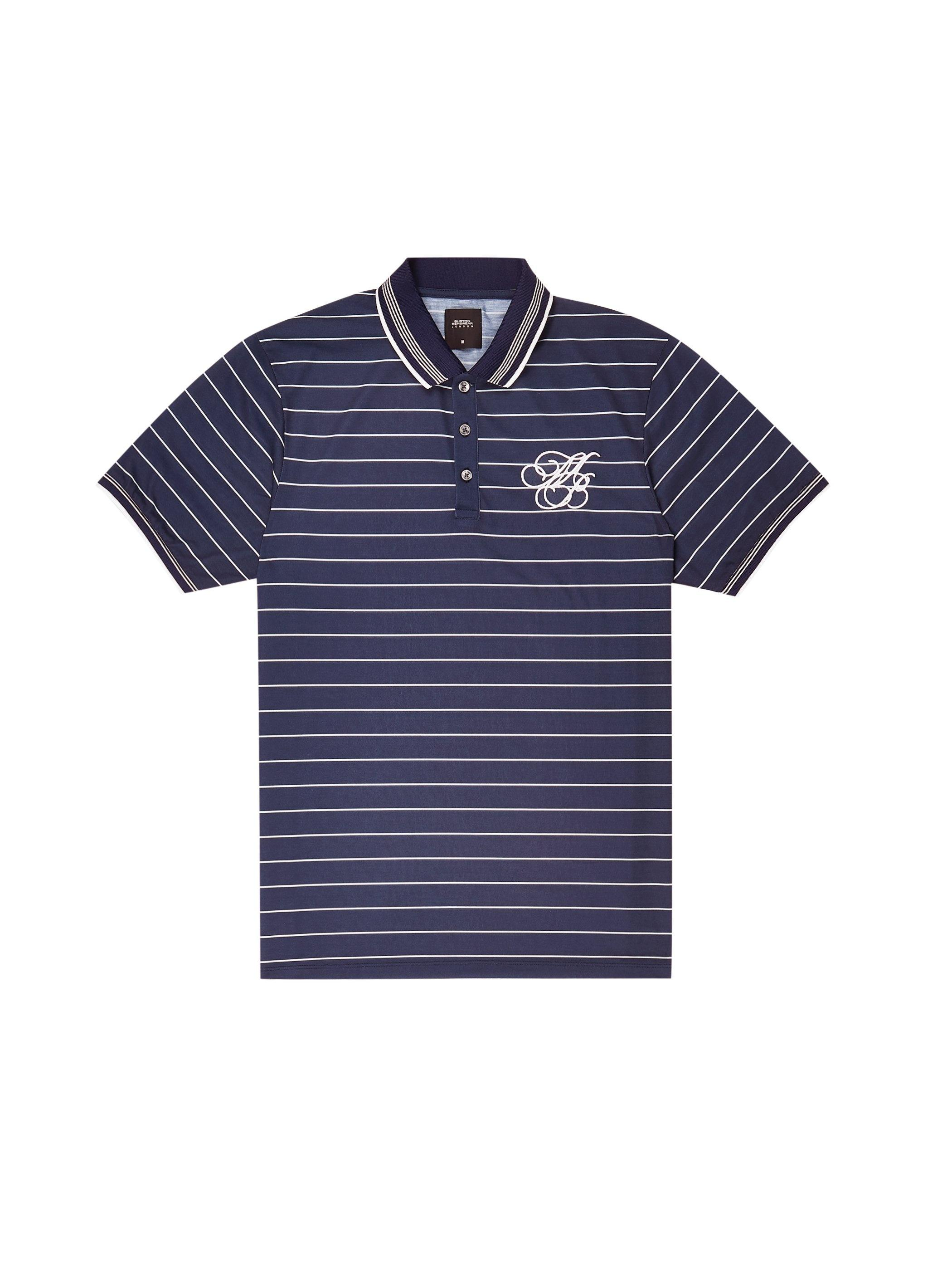 99360318 Burton Navy And Ecru Striped Mb Embroidery Polo Shirt in Blue for ...