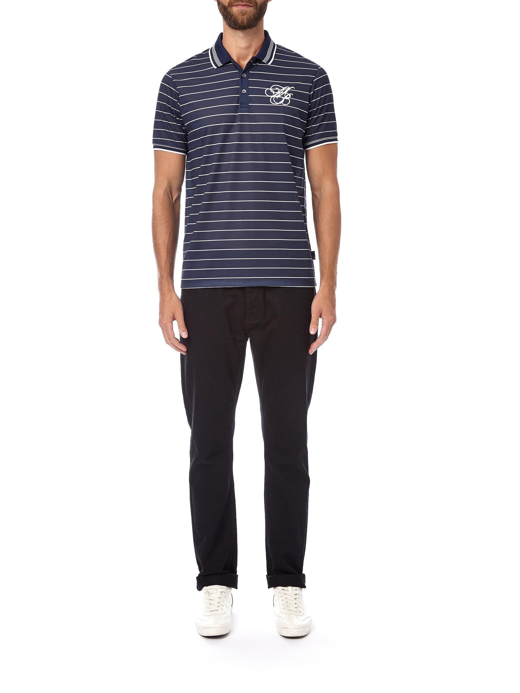 36bfb392 ... Navy And Ecru Striped Mb Embroidery Polo Shirt for Men - Lyst. View  fullscreen