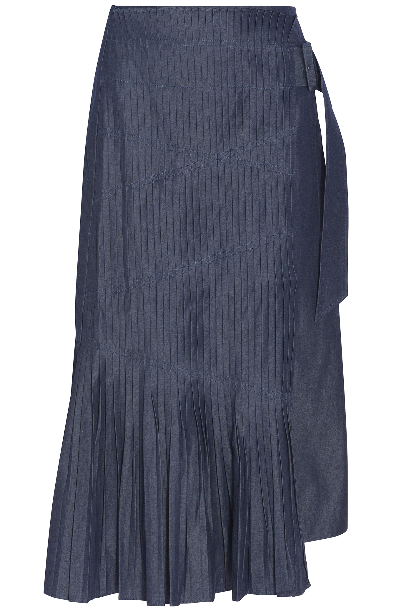 tibi pleated denim skirt lyst