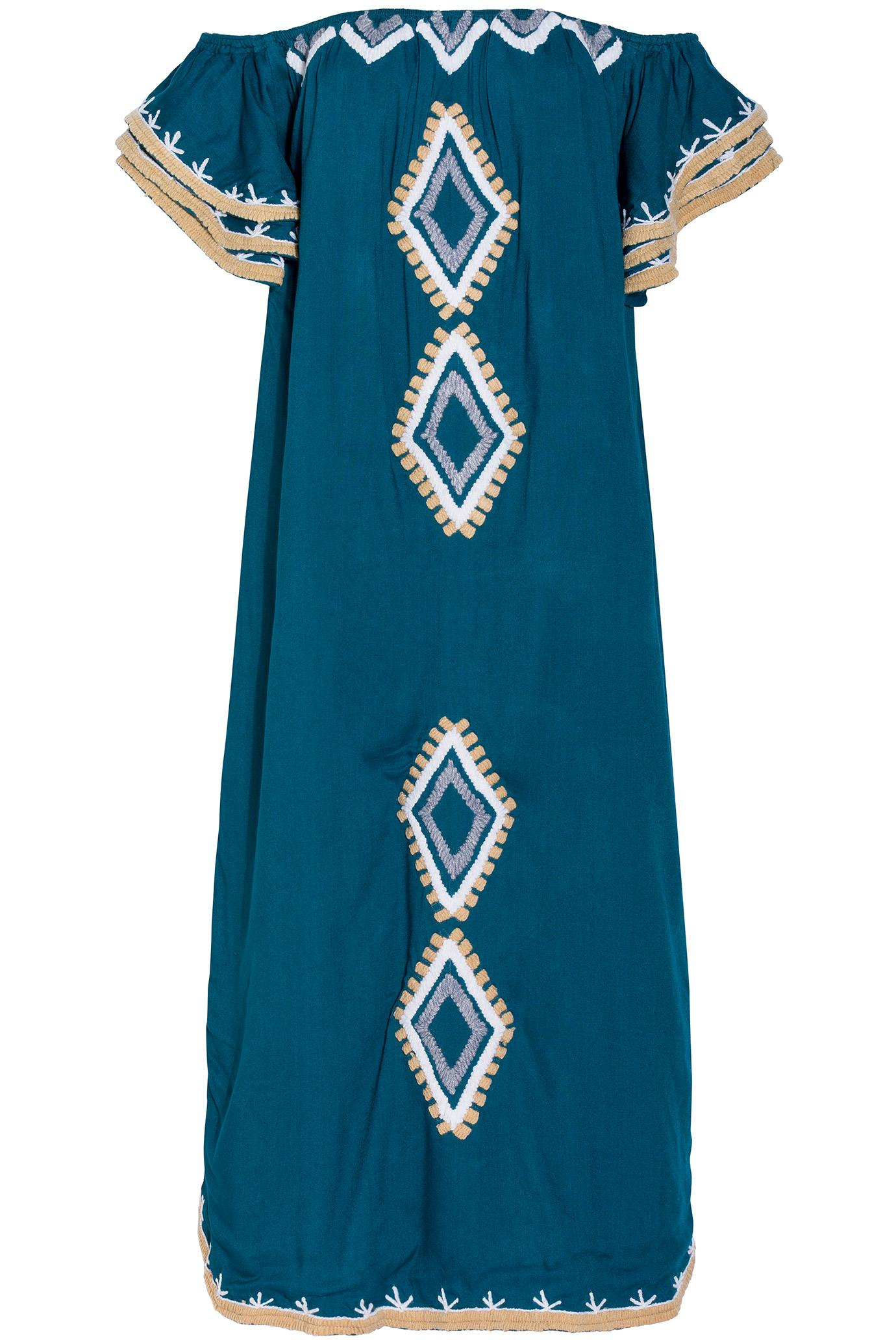 All Things Mochi Nwella Embroidered Dress In Blue Lyst