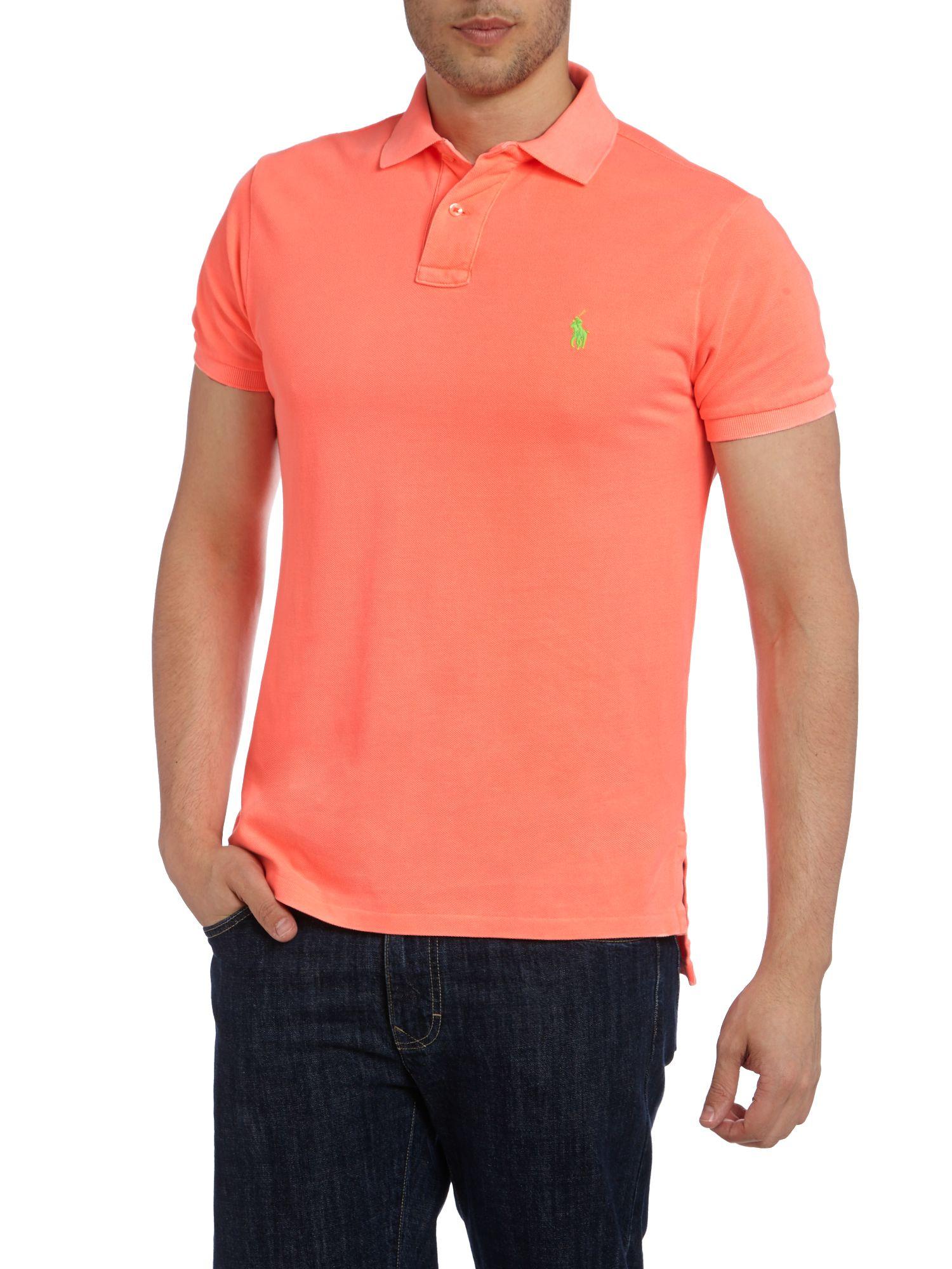 Polo ralph lauren neon polo shirt in orange for men lyst for Orange polo shirt mens