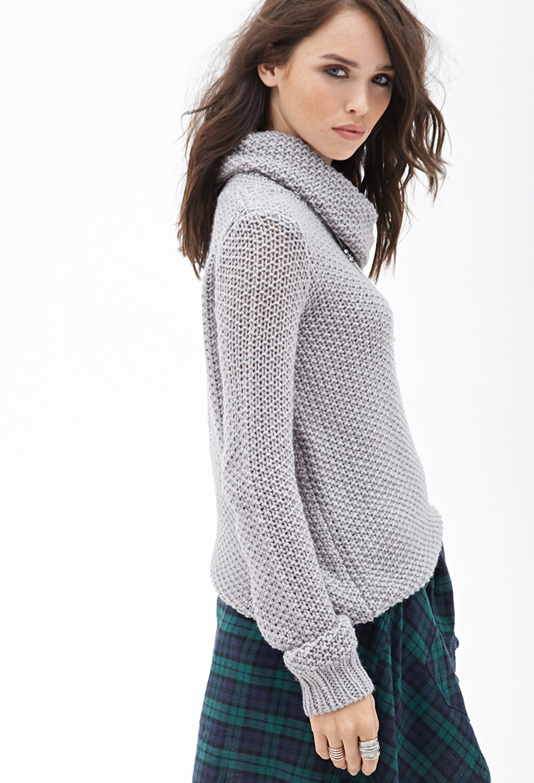 Forever 21 Open-knit Cowl Neck Sweater in Gray | Lyst