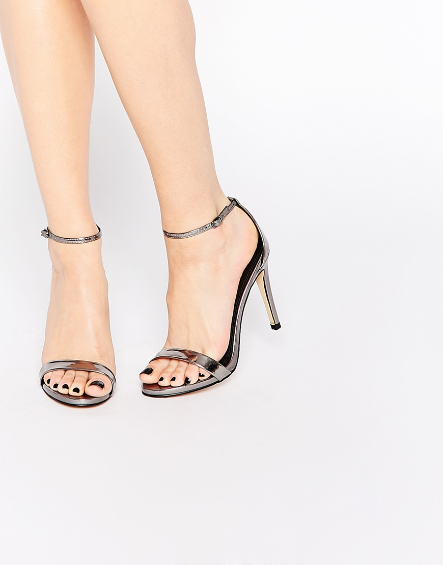 5153d447d8 Steve Madden Stecy Two Part Pewter Part Sandals in Gray - Lyst