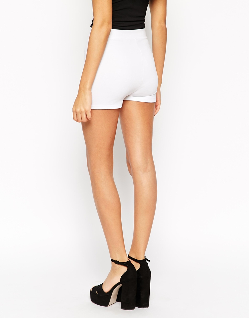 Asos High Waisted Stretch Shorts in White | Lyst