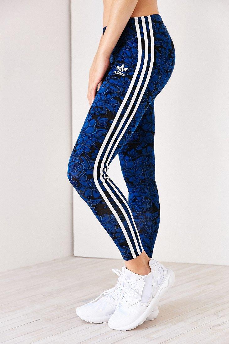 adidas originals blue floral legging in blue