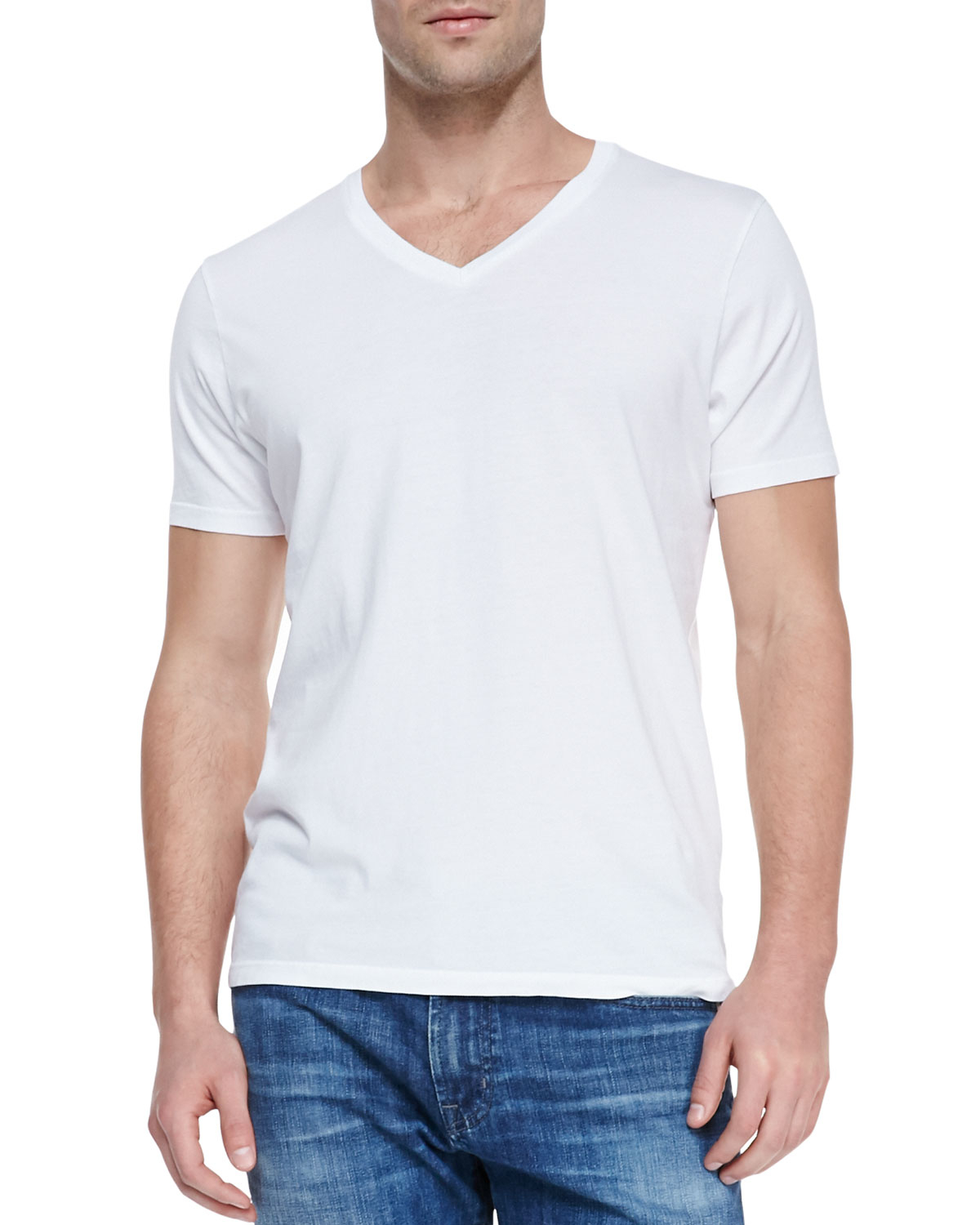 ag adriano goldschmied short sleeved v neck t shirt in white for men lyst. Black Bedroom Furniture Sets. Home Design Ideas