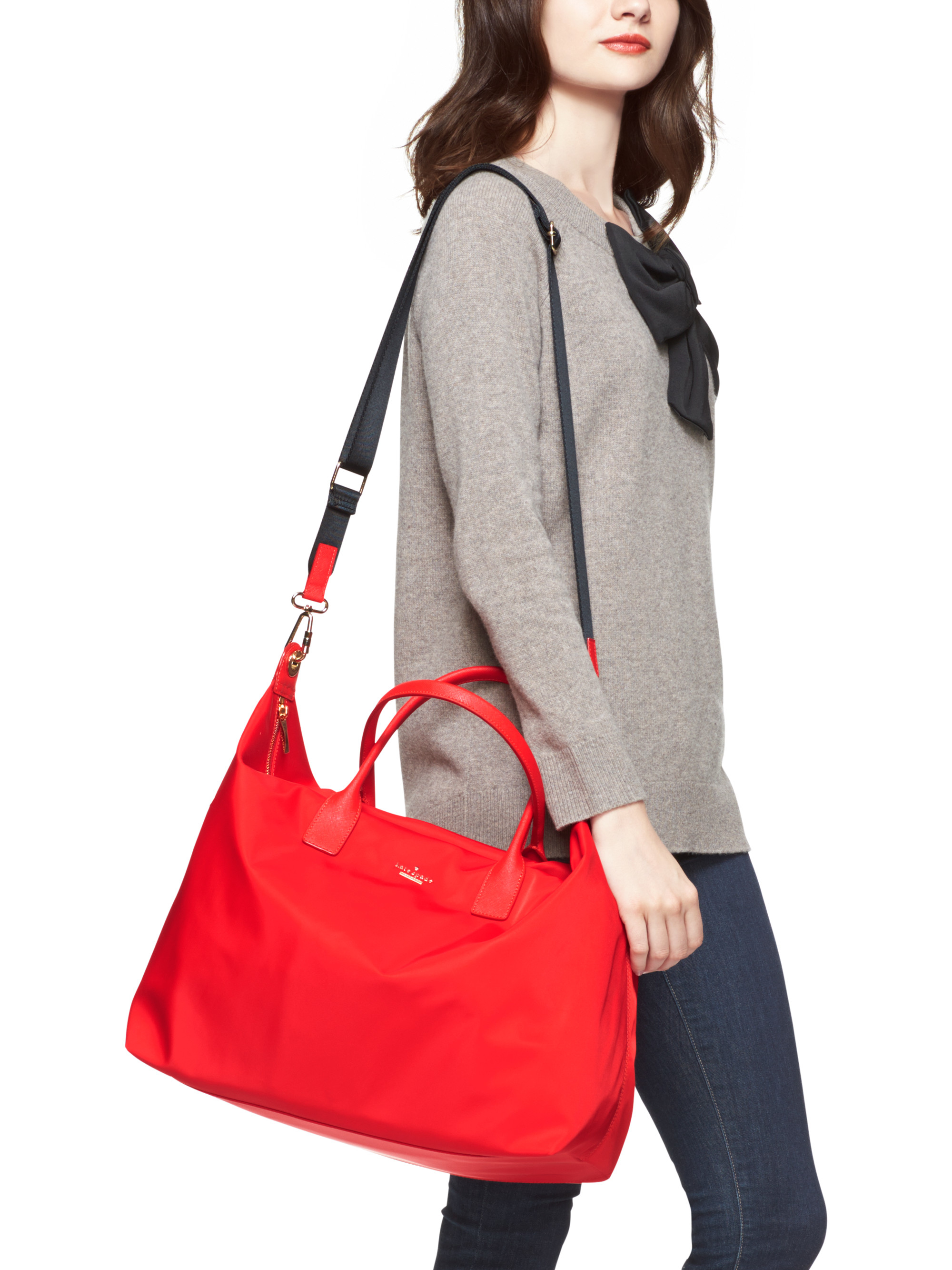 Kate spade new york Classic Nylon Lyla Weekender in Red | Lyst