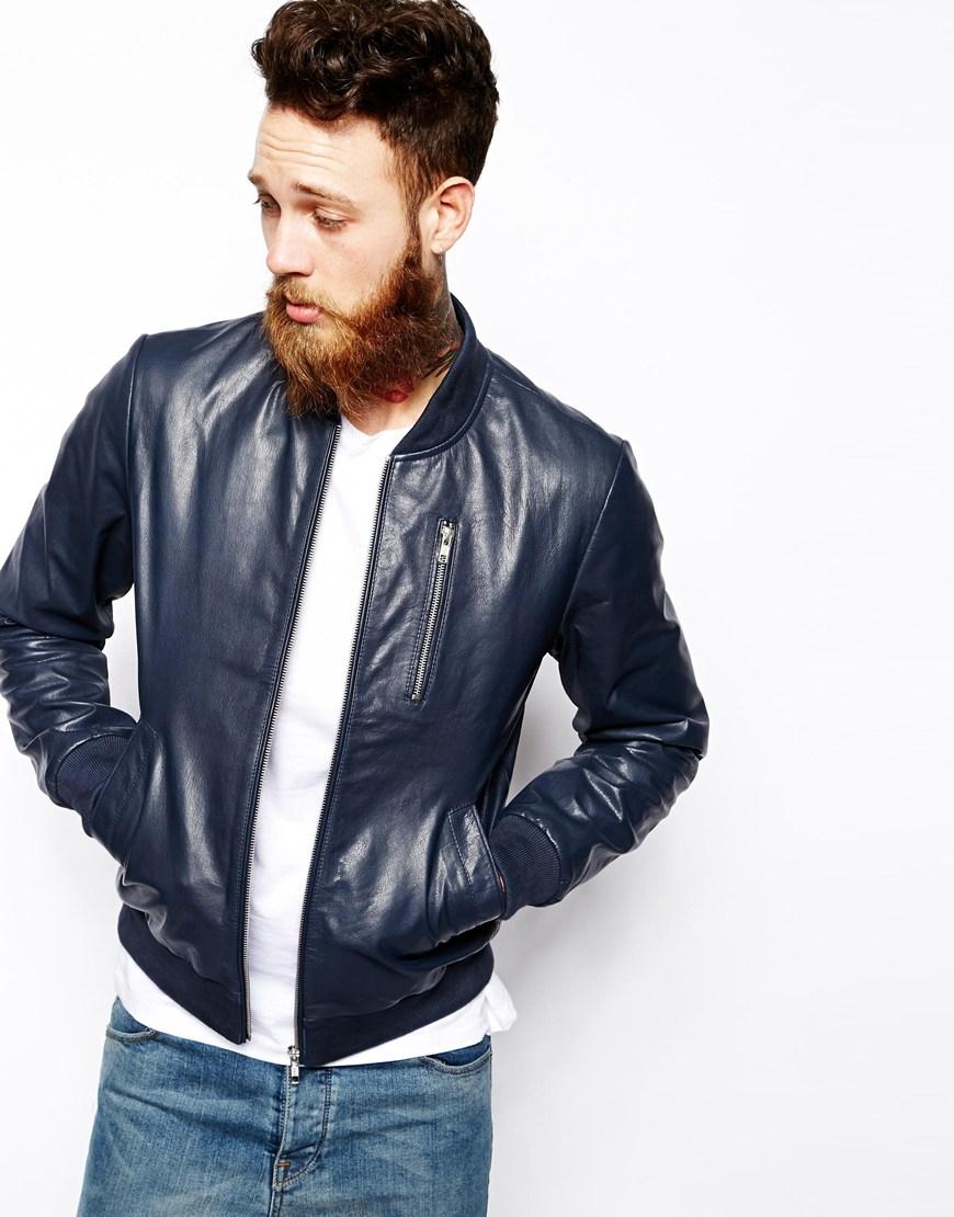 Lyst Asos Leather Bomber Jacket In Blue For Men