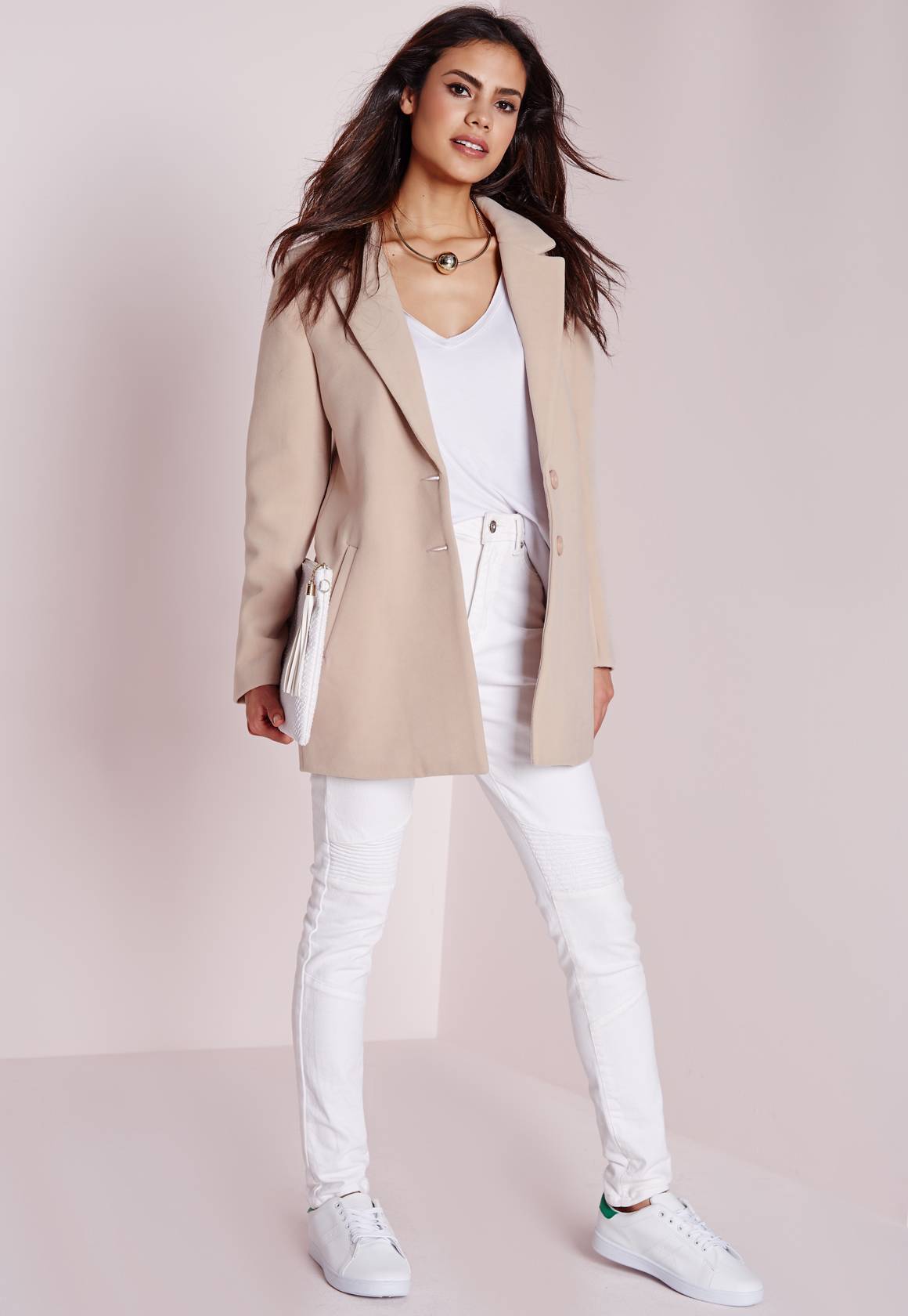 Missguided Short Faux Wool Coat Mink in Natural   Lyst