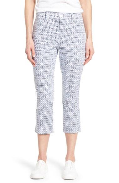 Nydj 'karen' Cotton Sateen Capri Pants in Blue | Lyst