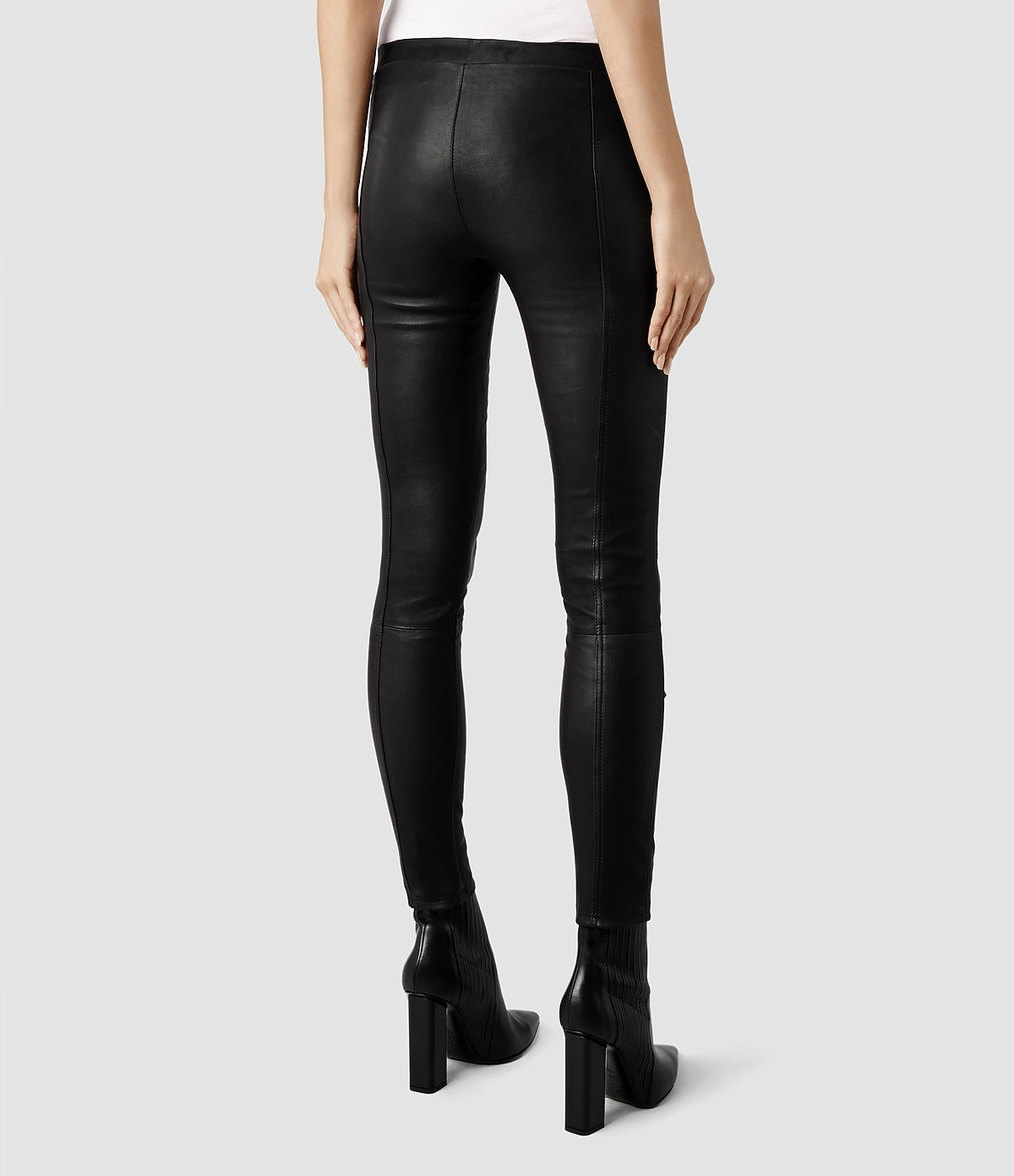 Allsaints Elm Leather Leggings in Black | Lyst