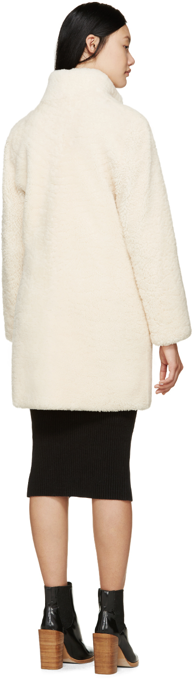 Meteo by yves salomon Off-white Shearling Coat in White | Lyst