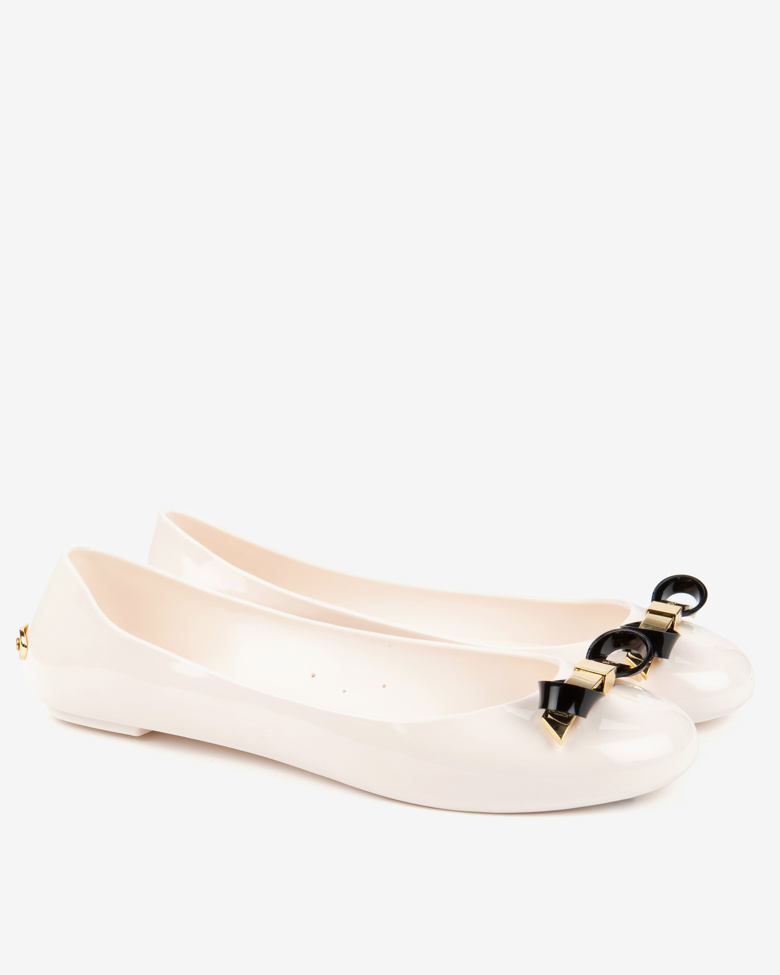 f75595b4d41f7d Ted Baker Slim Bow Jelly Pumps in Natural - Lyst