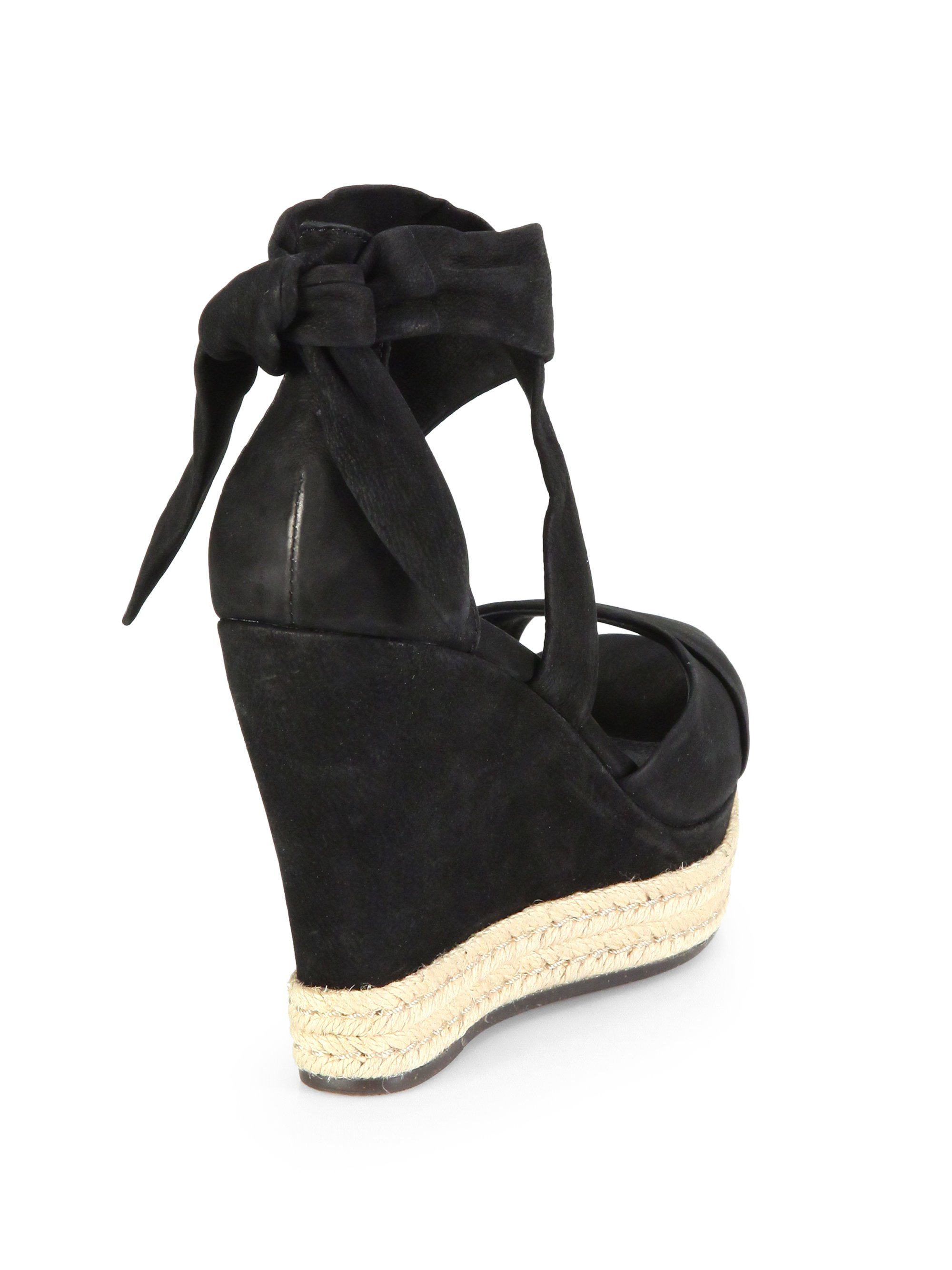 Lyst Ugg Lucy Suede Tie Up Wedge Sandals In Black