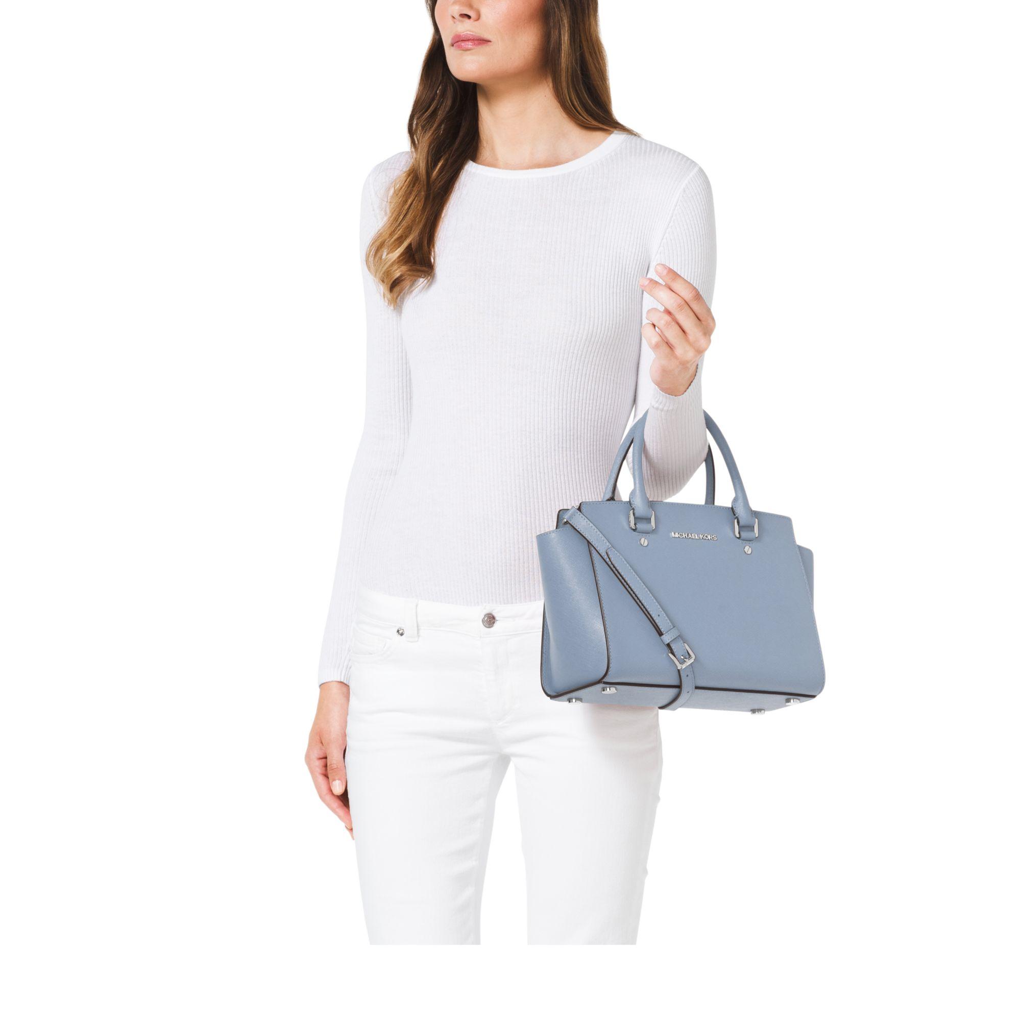 michael kors selma medium saffiano leather satchel in blue. Black Bedroom Furniture Sets. Home Design Ideas