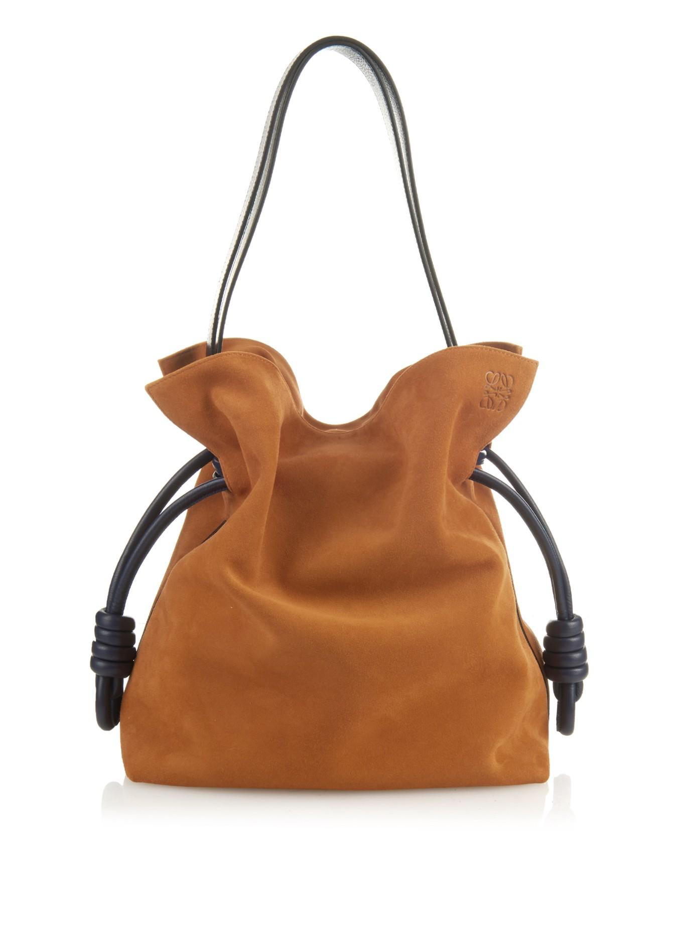 Loewe Flamenco Knot Suede Bag in Brown | Lyst