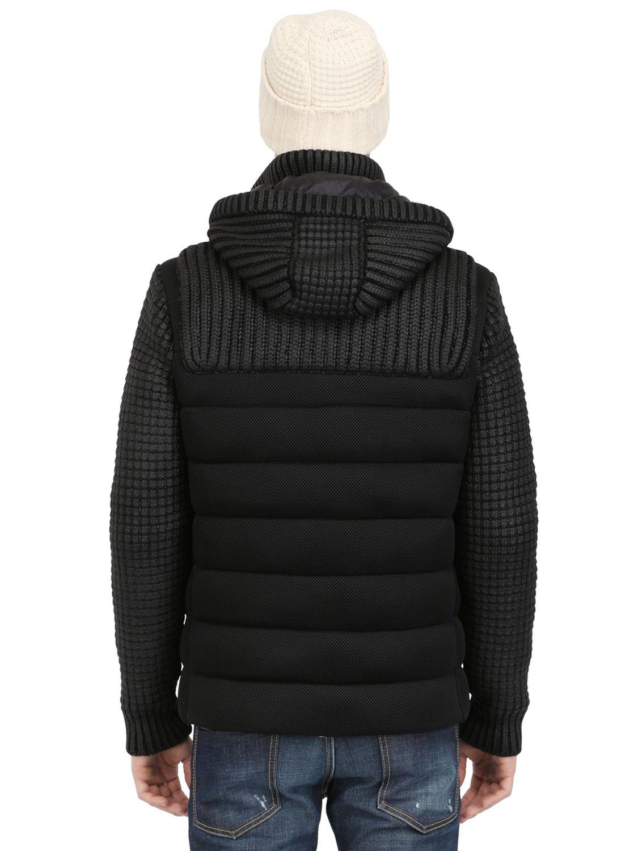 Bark Waxed Wool Blend Knit Mesh Duffle Coat in Black for Men | Lyst