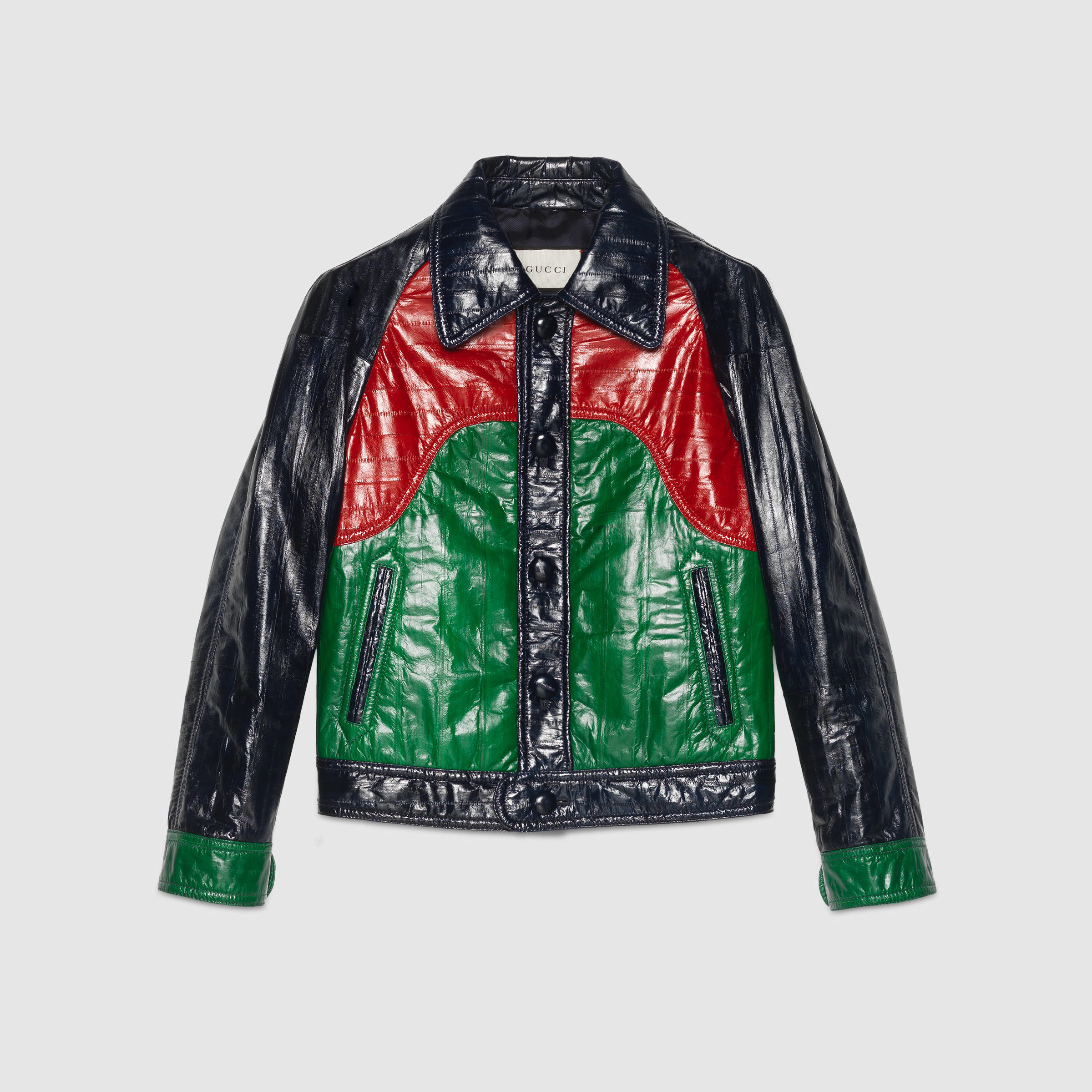 Gucci Paneled Leather Jacket in Red | Lyst