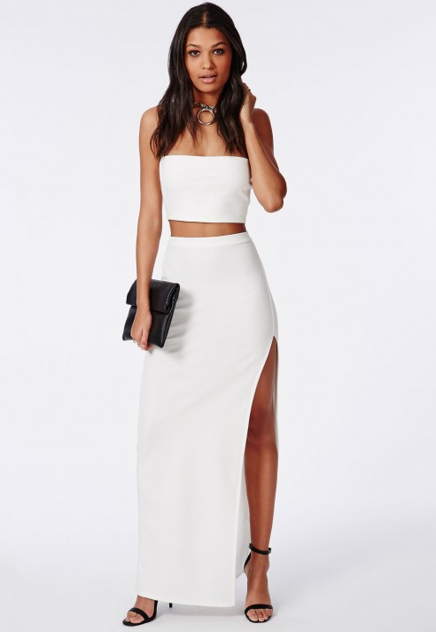 Missguided Thigh High Split Maxi Skirt White in White | Lyst
