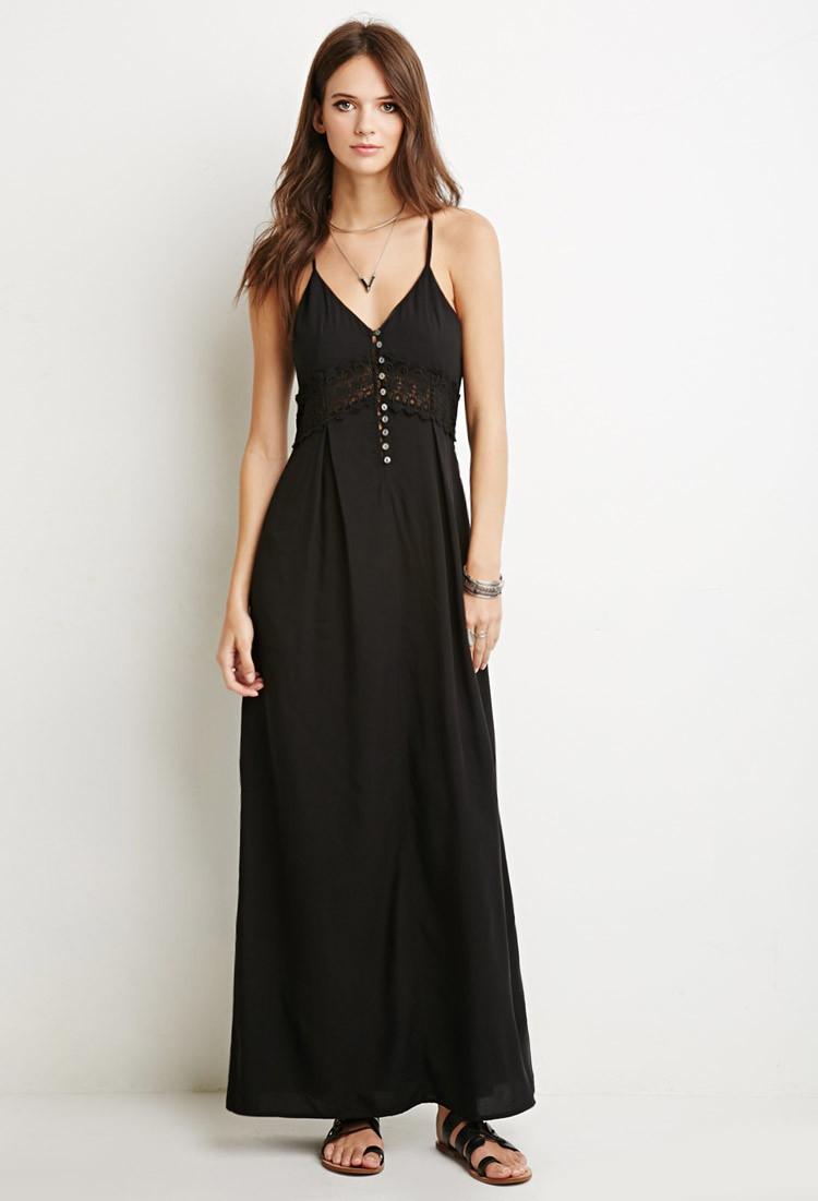 c7f7c299d570d Lyst - Forever 21 Crochet Trim Maxi Dress in Black