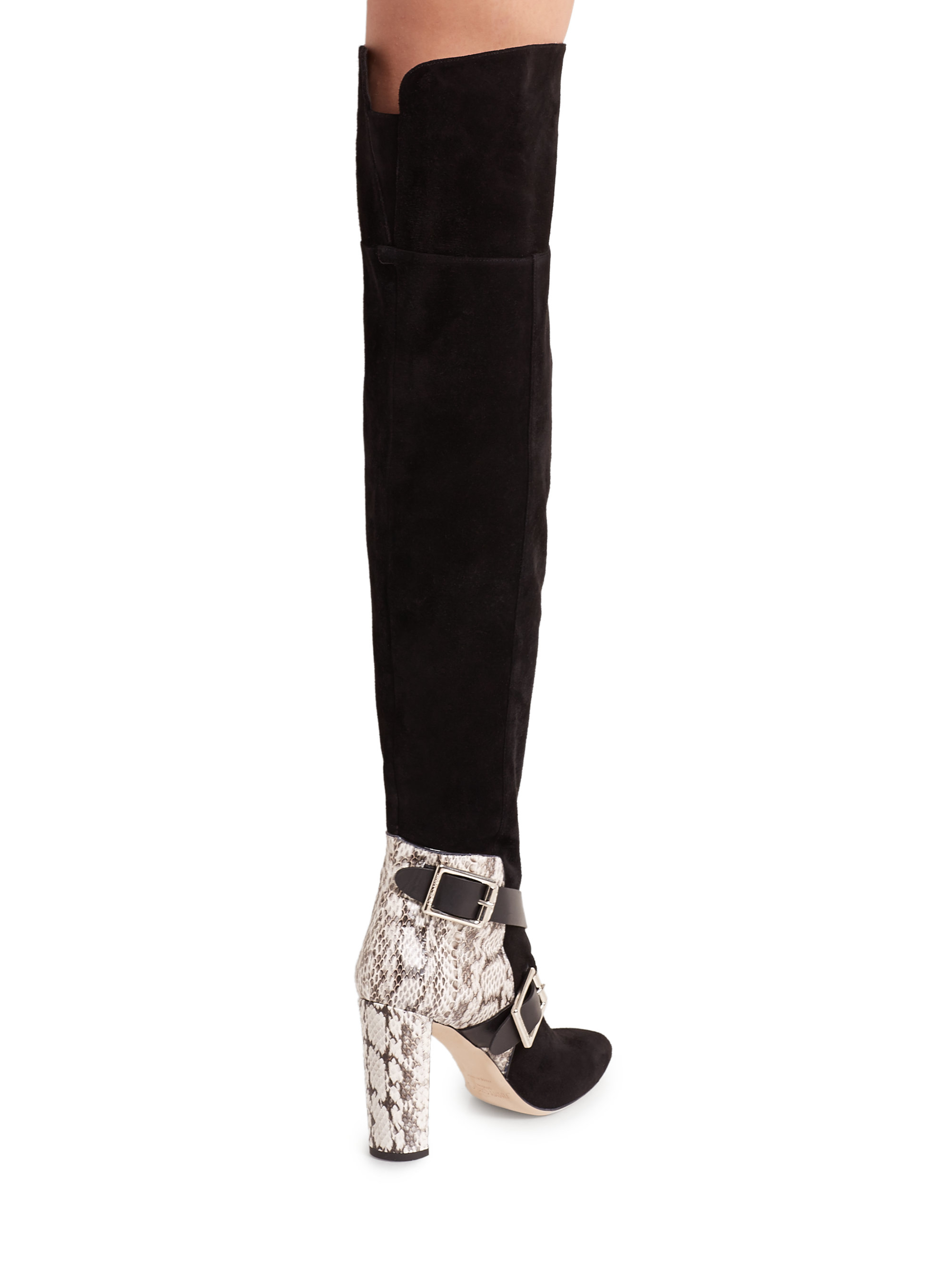 Jimmy Choo Doma Leather Amp Snakeskin Over The Knee Boots In