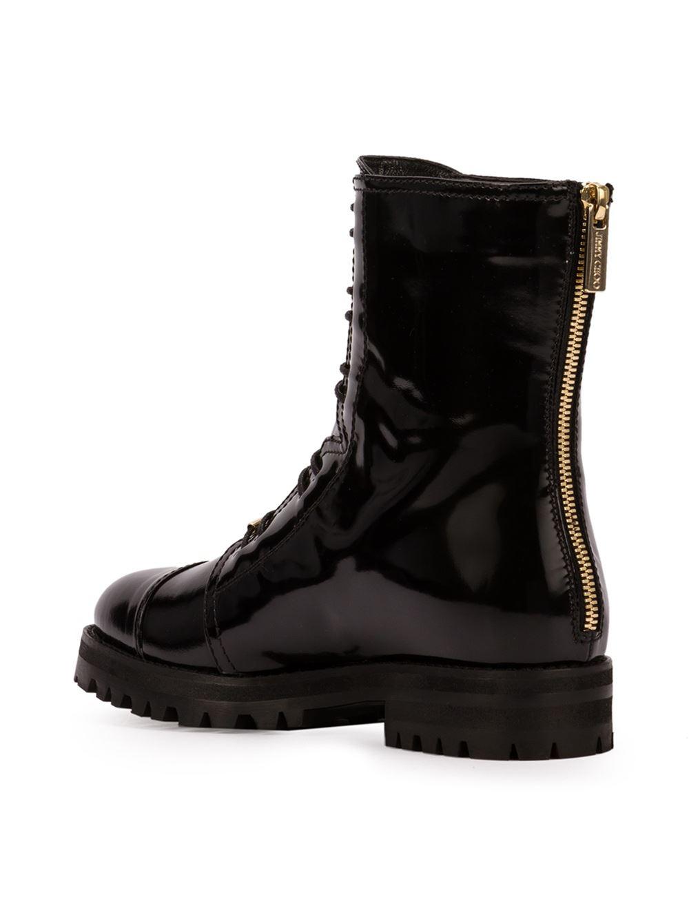 Lyst Jimmy Choo Haze Leather Combat Boots In Black