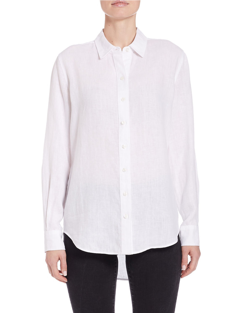 Lord Taylor Linen Hi Low Dress Shirt In White Lyst