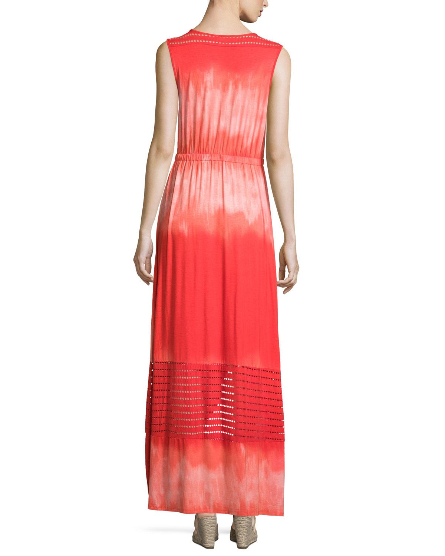 Neiman marcus Sleeveless Faux-wrap Maxi Dress in Blue | Lyst