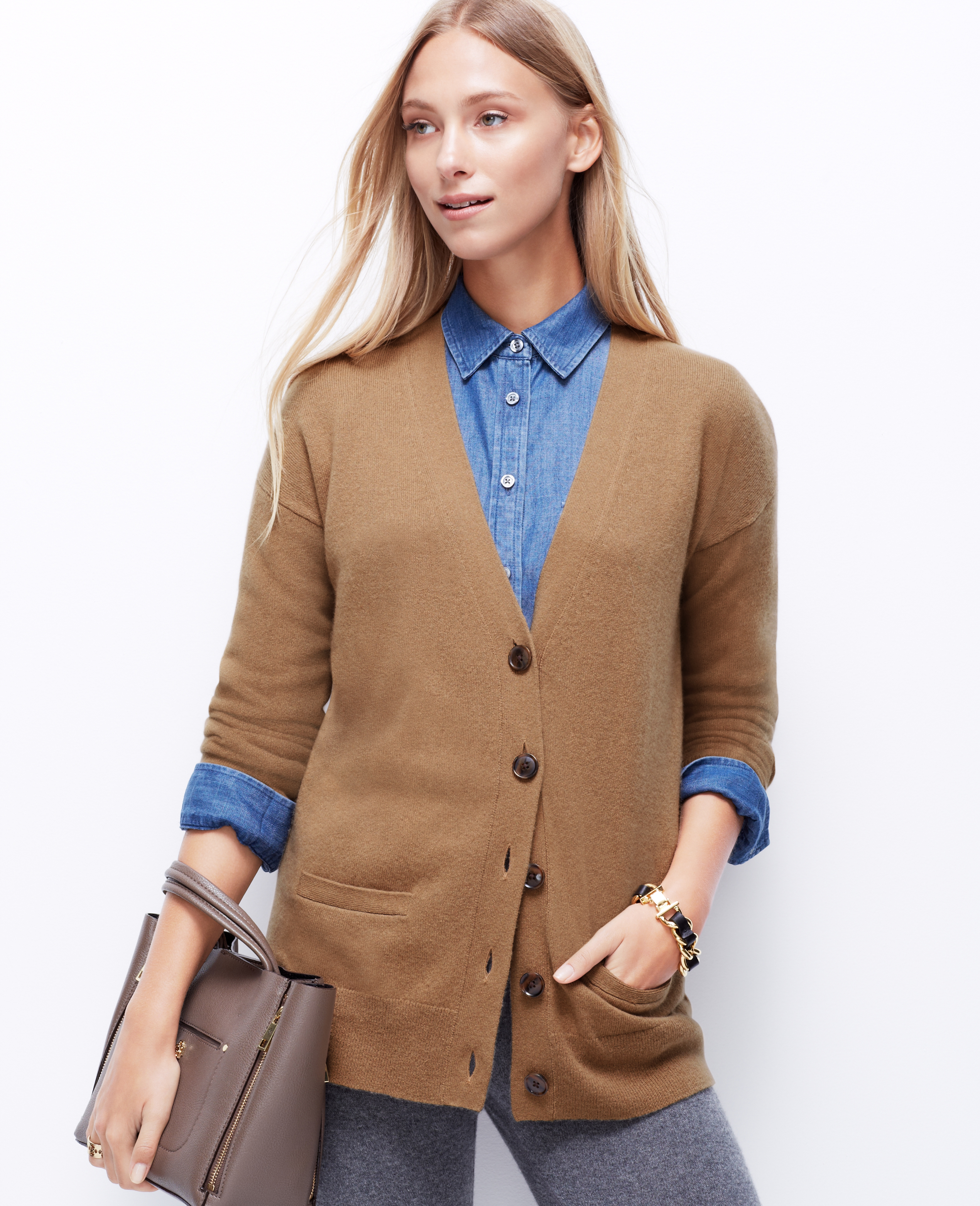 Ann taylor Cashmere Cardigan in Natural | Lyst