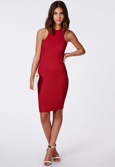 50c1129b8ba8 Lyst - Missguided Zara Ribbed Racer Midi Dress Red in Red