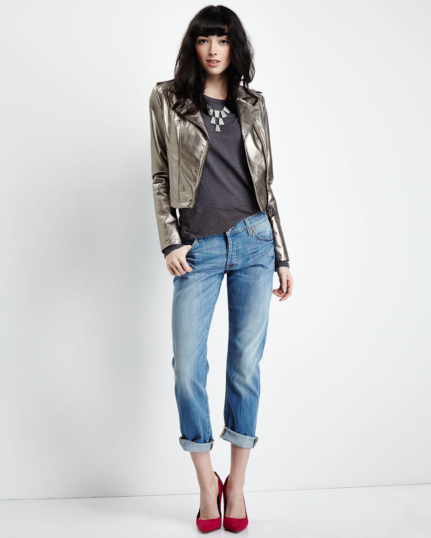 7 for all mankind Josefina Skinny Boyfriend Jeans in Blue | Lyst