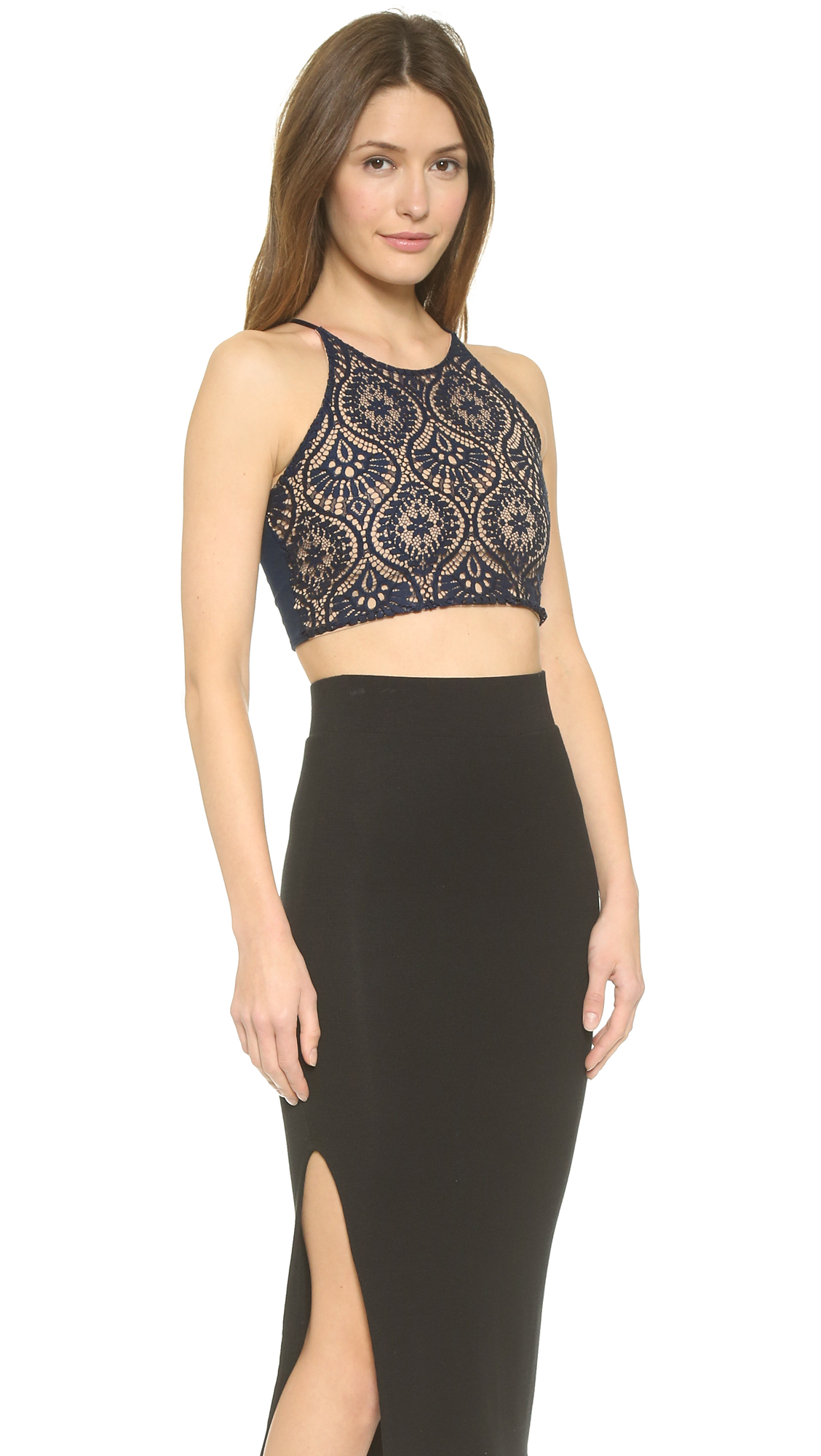 dbf5300acf Lyst - David Lerner Lace Front Crop Top - Ink in Blue