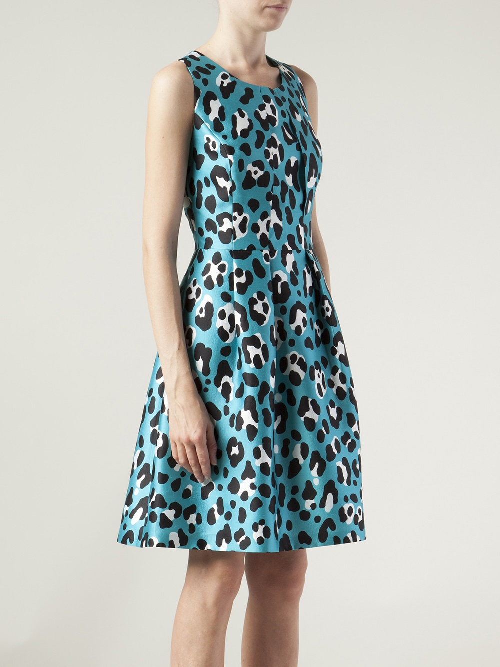 Michael Kors Animal Print Bell Dress In Blue Lyst