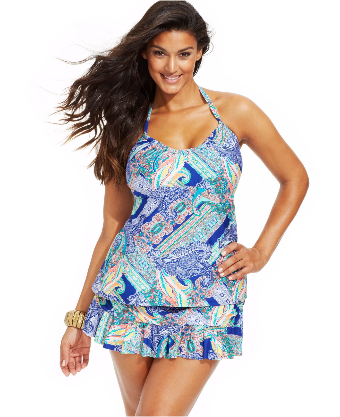 efa0c730290 Lyst - Kenneth Cole Reaction Plus Size Paisley-Print Halter Tankini ...
