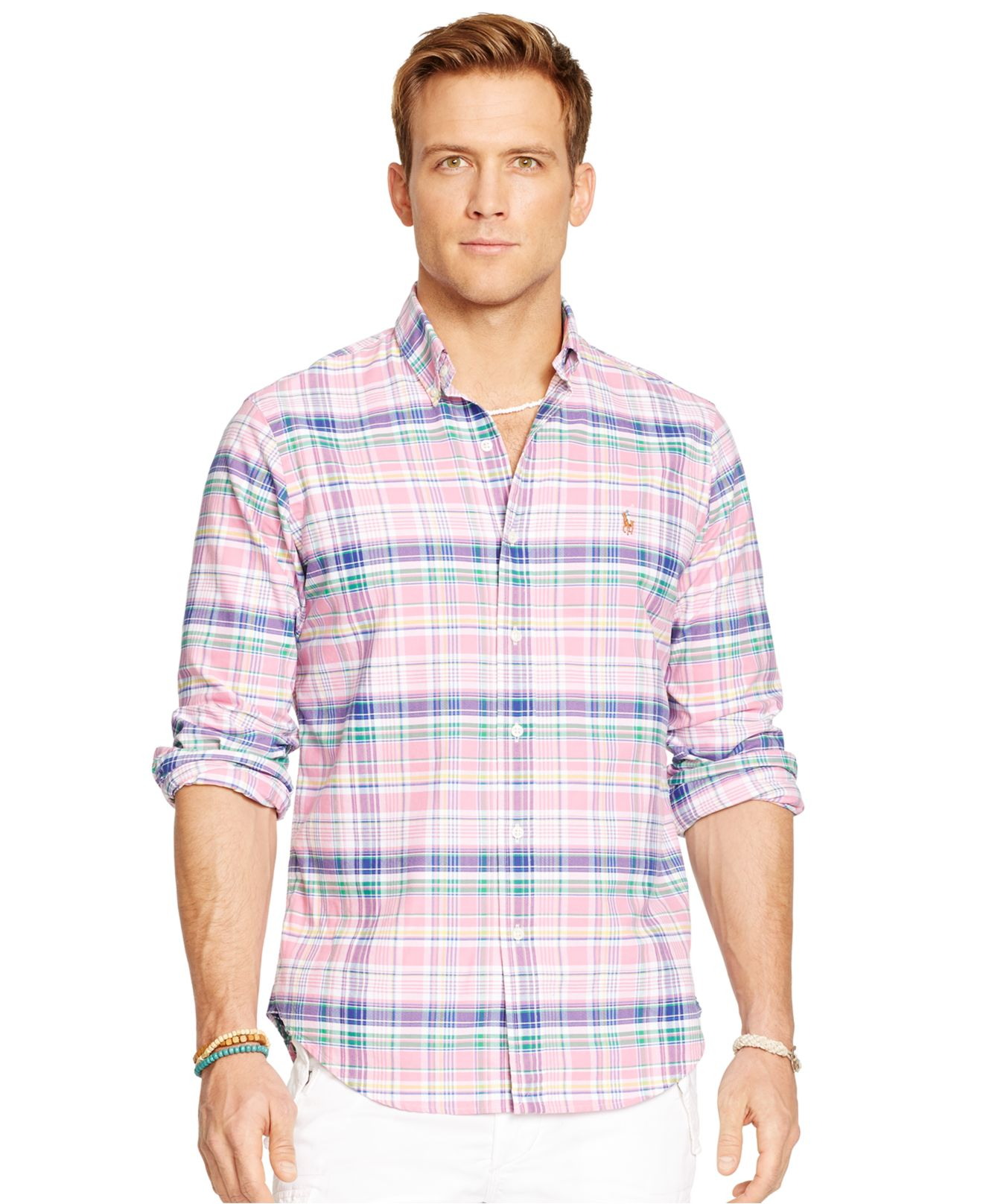 polo ralph lauren plaid oxford shirt in pink for men lyst
