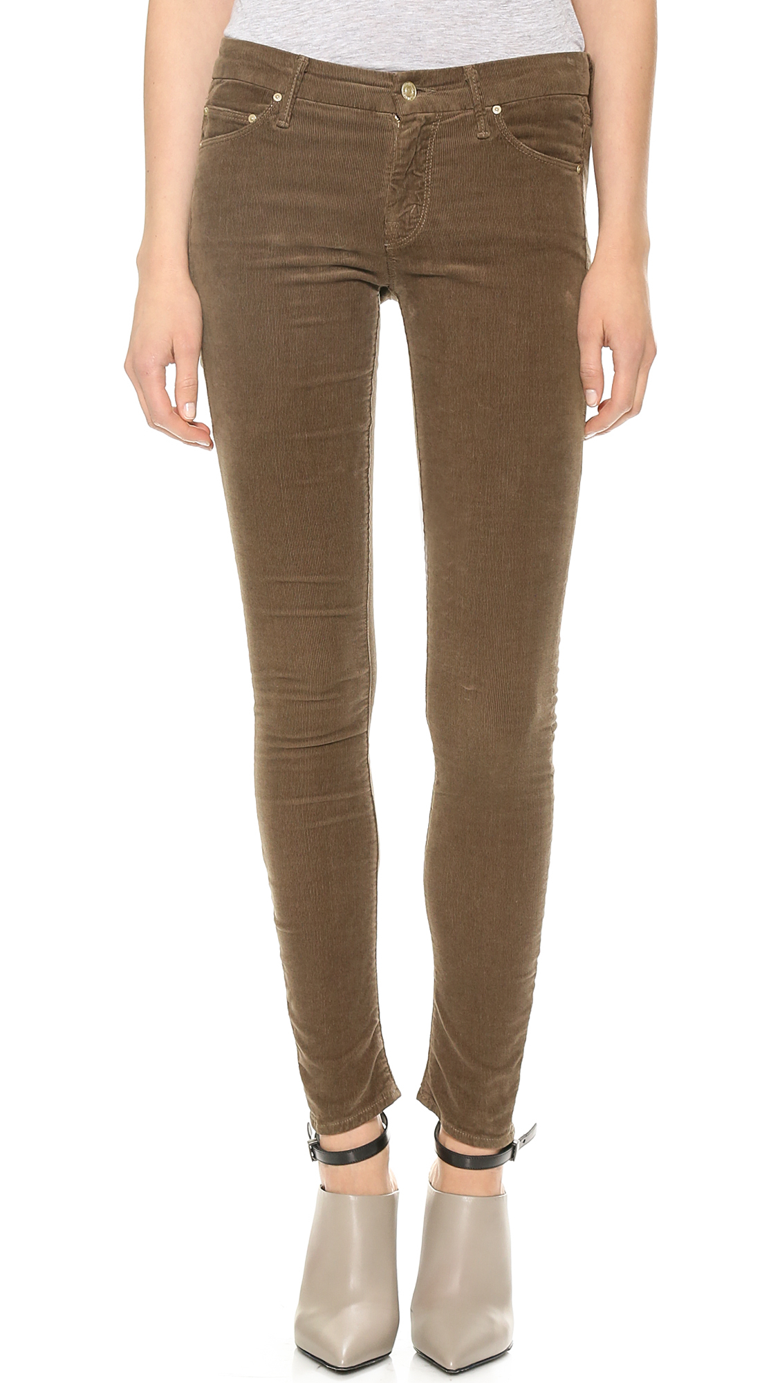 Mother The Looker Skinny Corduroy Pants Moss In Brown Lyst