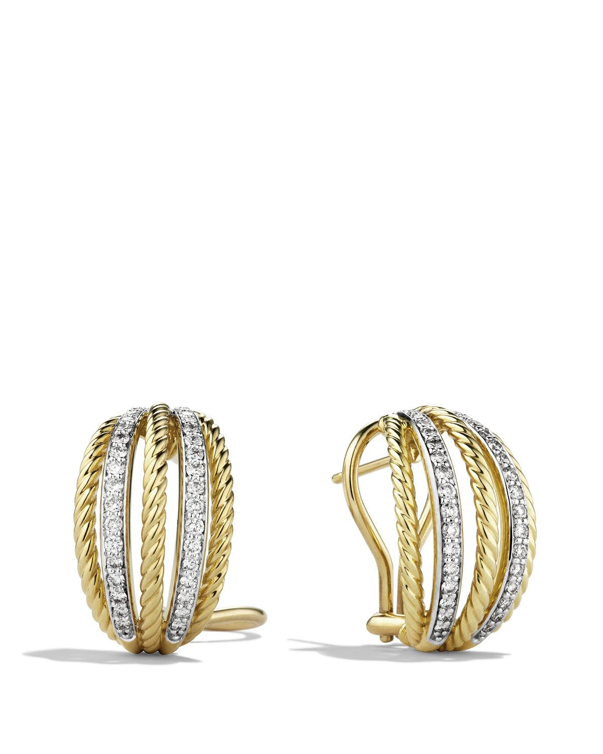 David Yurman Lantana Earrings With Diamonds In Gold In