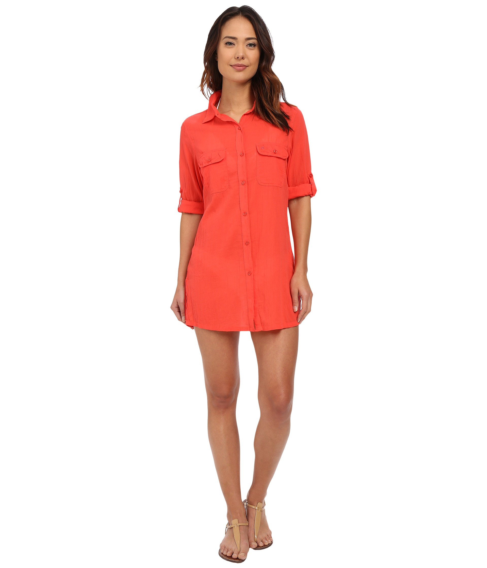 654a2d60e79f0 Lauren by Ralph Lauren Crushed Cotton Camp Shirt Cover-up in Pink - Lyst