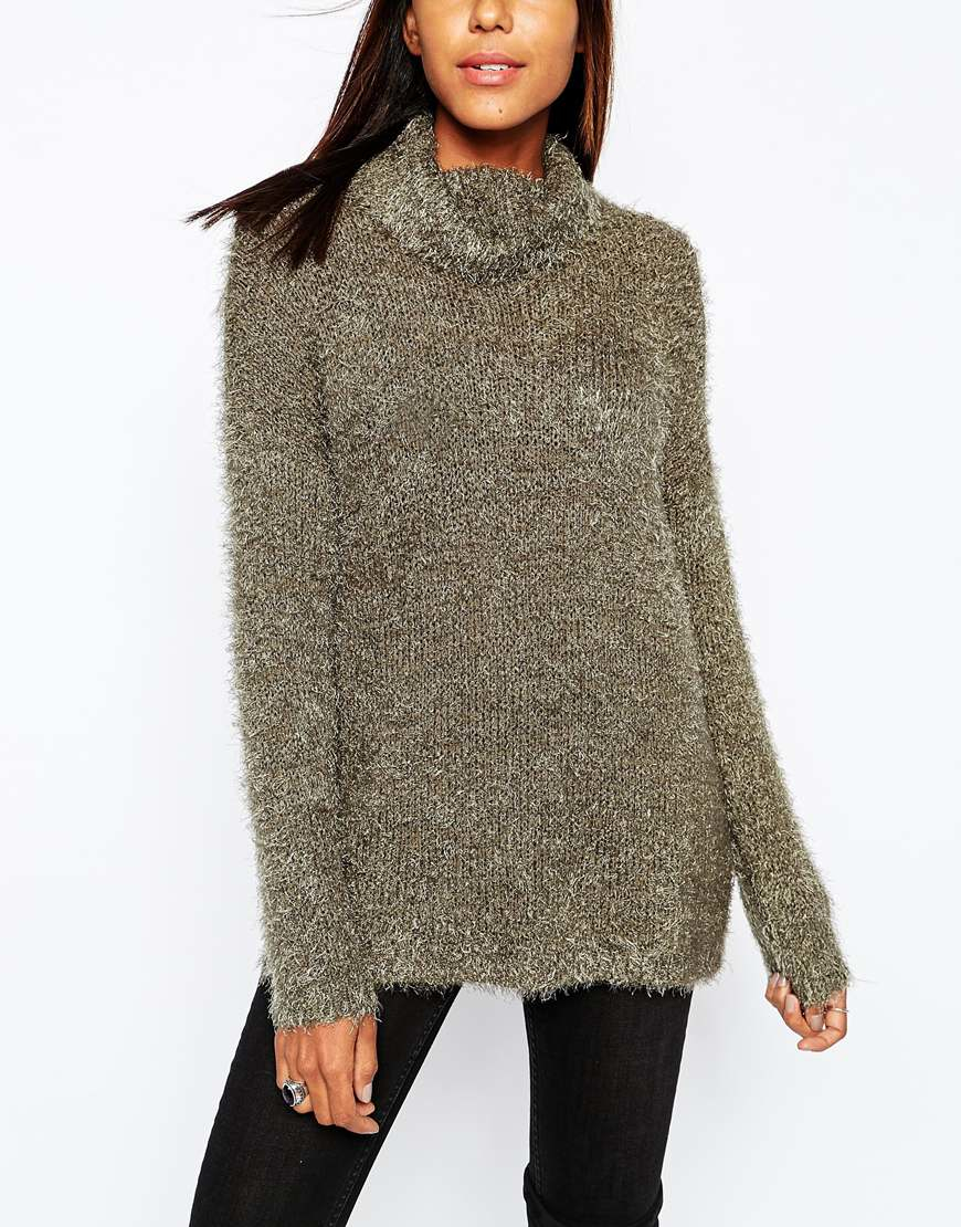 Only Nly Longline Fluffy Jumper With High Neck | Lyst