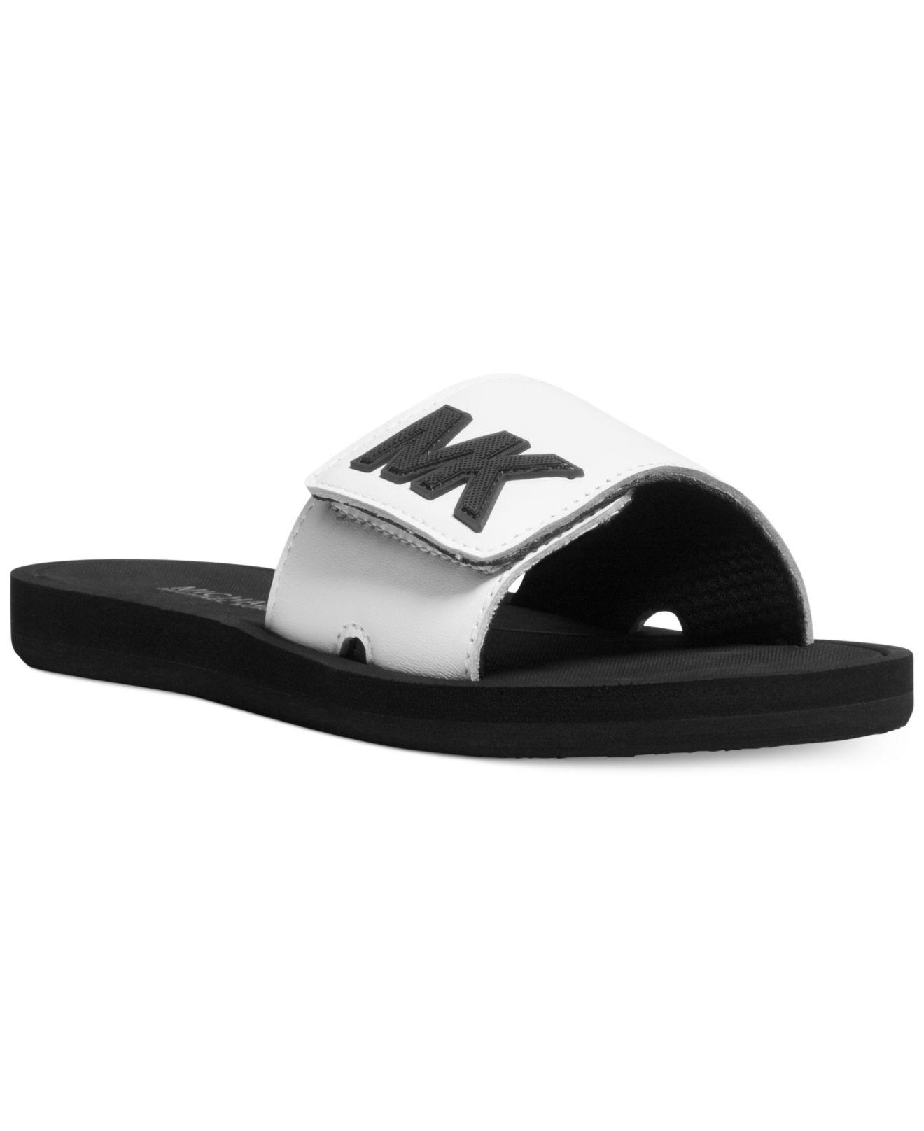 2d7aa9fe716c ... Lyst - Michael Kors Michael Mk Shower Slide Sandals in White ...