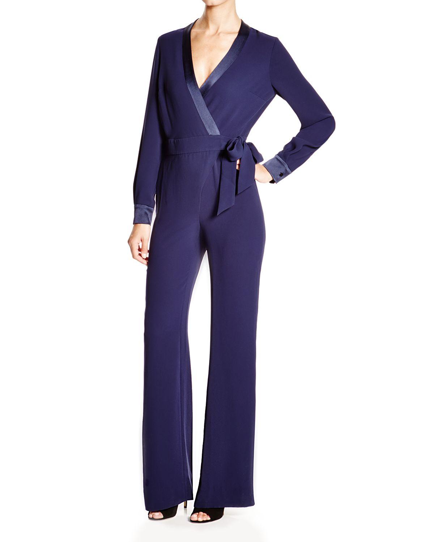 1916f9a99e7 Lyst - Diane von Furstenberg Margot Satin Trim Jumpsuit in Blue