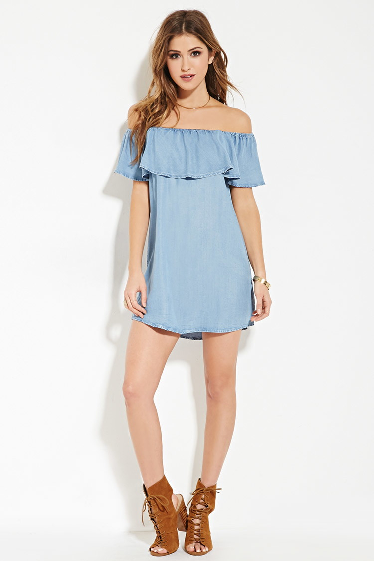 Lyst forever 21 chambray off the shoulder dress in blue for Chambray dress