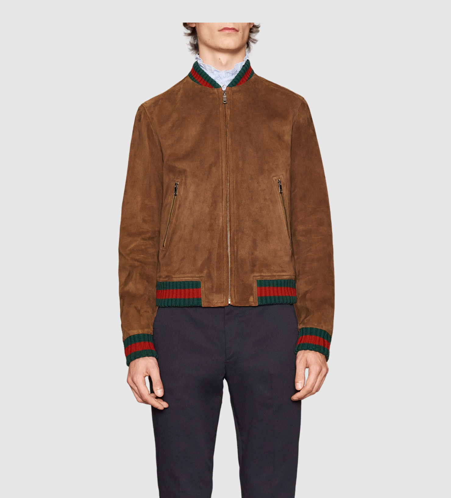 ea27406ee879 Gucci Suede Jacket With Web in Brown for Men - Lyst