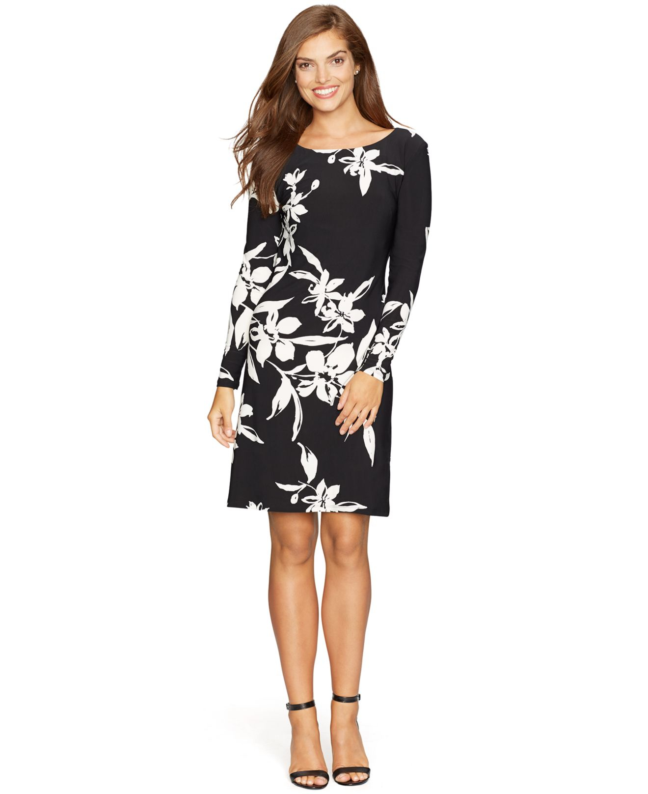 American Living Floral Print Pleated Dress In Black Lyst