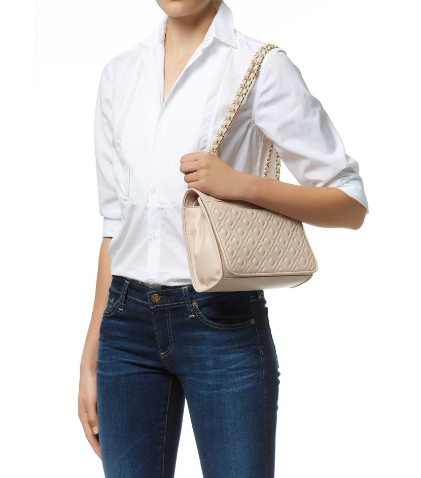 Tory Burch Fleming Quilted Shoulder Bag In Natural Lyst