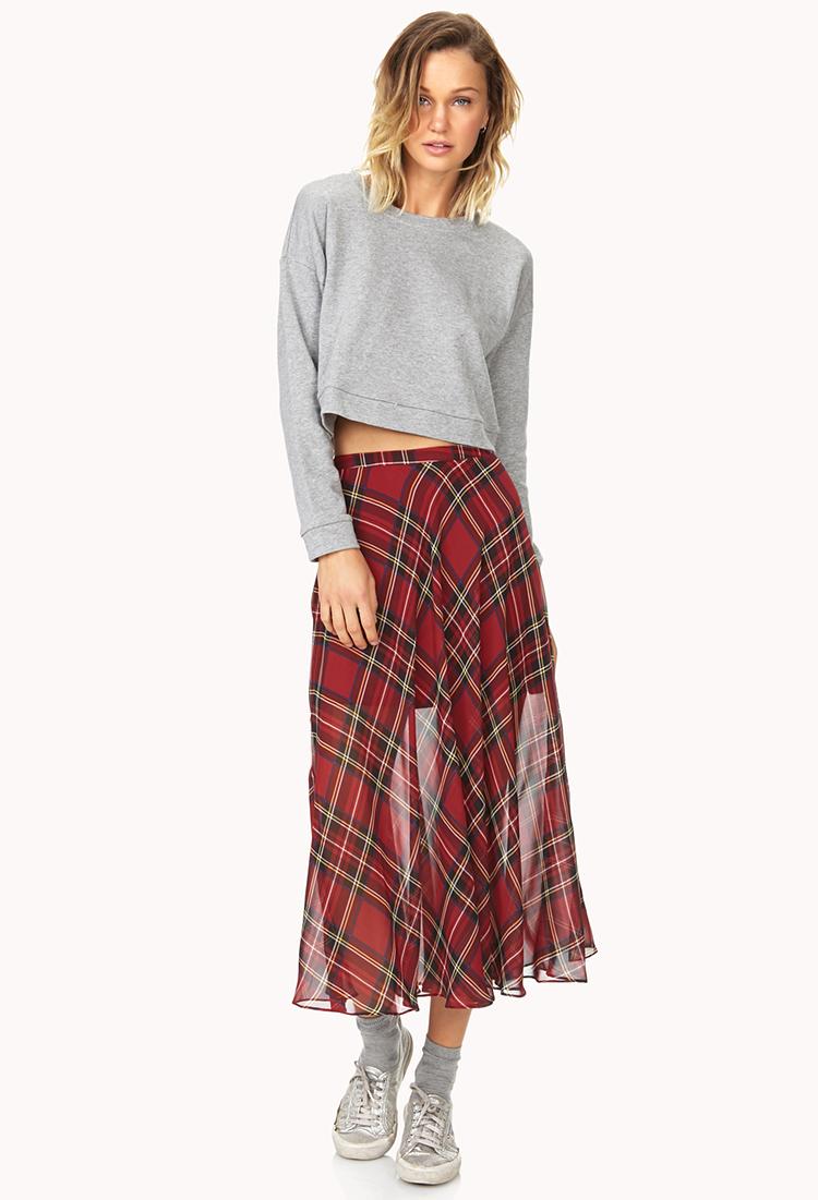 Forever 21 Tartan Plaid Slit Maxi Skirt in Black | Lyst